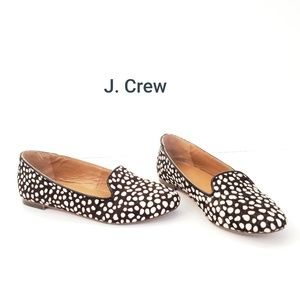 J. Crew Slip On Leather Calf Hair Flats 6.5
